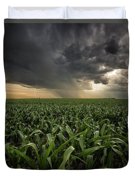Duvet Cover featuring the photograph Corn And Lightning by Aaron J Groen