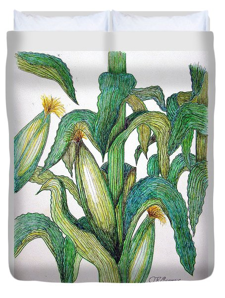 Duvet Cover featuring the drawing Corn And Stalk by J R Seymour