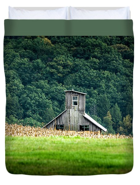 Duvet Cover featuring the photograph Corn Field Silo by Marvin Spates