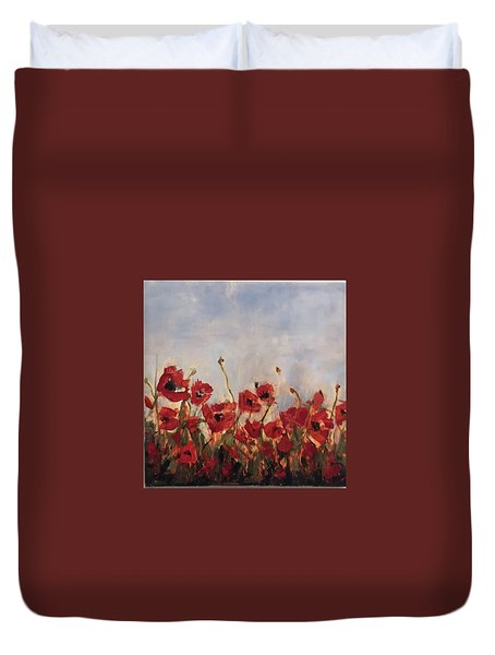 Corn Poppies In Remembrance Duvet Cover