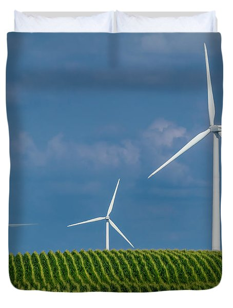 Corn Rows And Windmills Duvet Cover