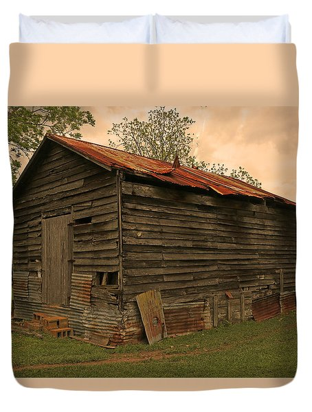 Corn Shed Duvet Cover by Ronald Olivier