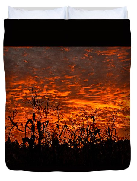 Corn Under A Fiery Sky Duvet Cover by John Harding