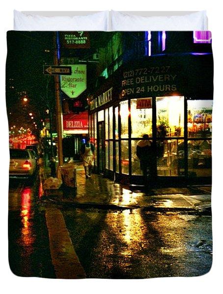 Duvet Cover featuring the photograph Corner In The Rain by Miriam Danar