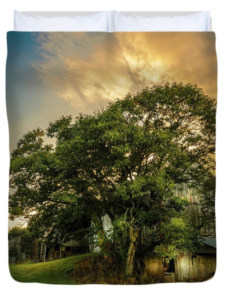 Duvet Cover featuring the photograph Corner Oak by Marvin Spates