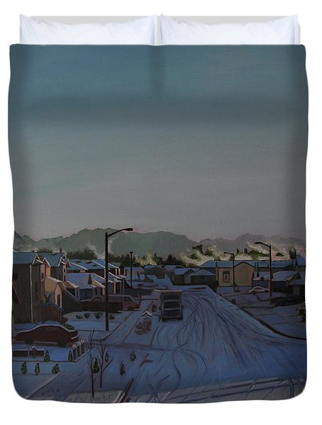 Corner Of 157th St. And 168th Ave. Duvet Cover by Thu Nguyen
