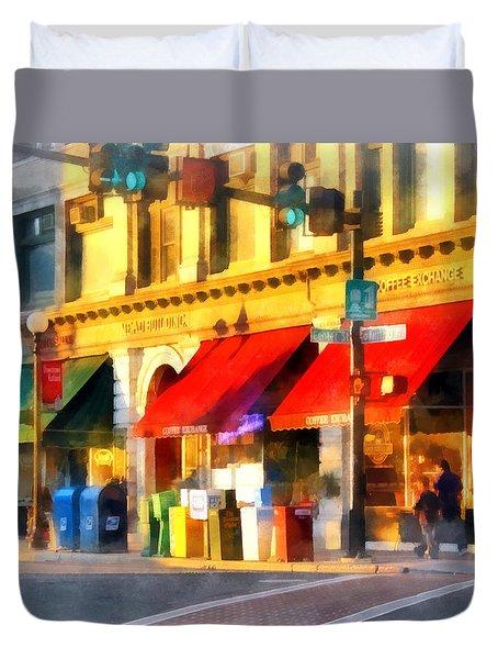 Corner Of Center And Merchant Rutland Vt Duvet Cover by Susan Savad