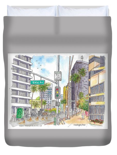 Corner Wilshire Blvd. And Gale Dr., Beverly Hills, Ca Duvet Cover