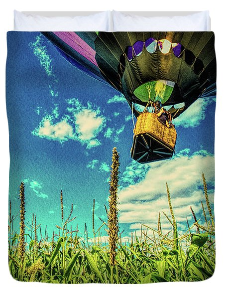 Cornfield View Hot Air Balloons Duvet Cover by Bob Orsillo