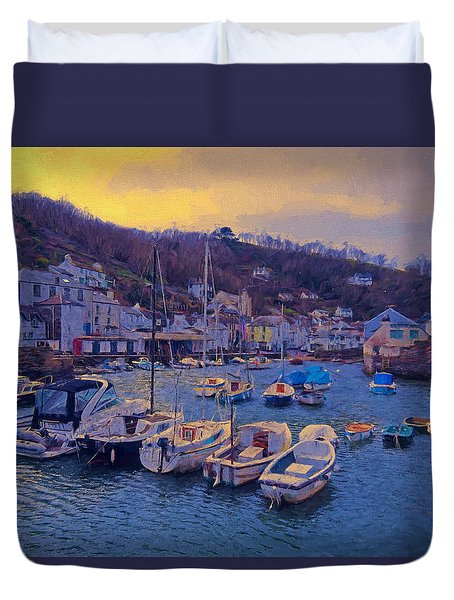 Cornish Fishing Village Duvet Cover