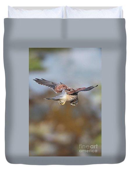 Duvet Cover featuring the photograph Cornish Kestrel Hunting 2 by Nicholas Burningham