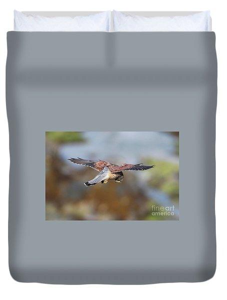 Duvet Cover featuring the photograph Cornish Kestrel Hunting by Nicholas Burningham