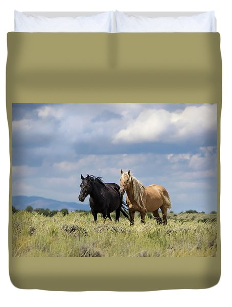 Duvet Cover featuring the photograph Corona And Em Of Sand Wash Basin by Nadja Rider