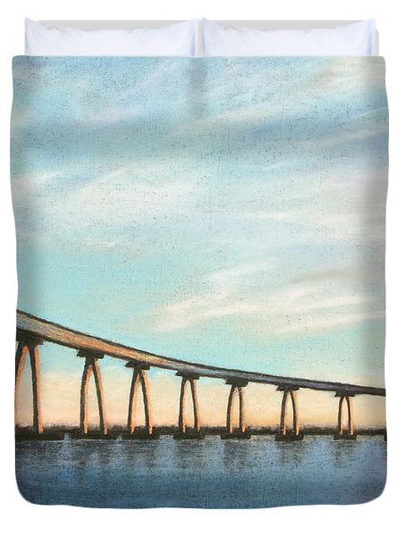 Coronado Bridge Sunset A Duvet Cover