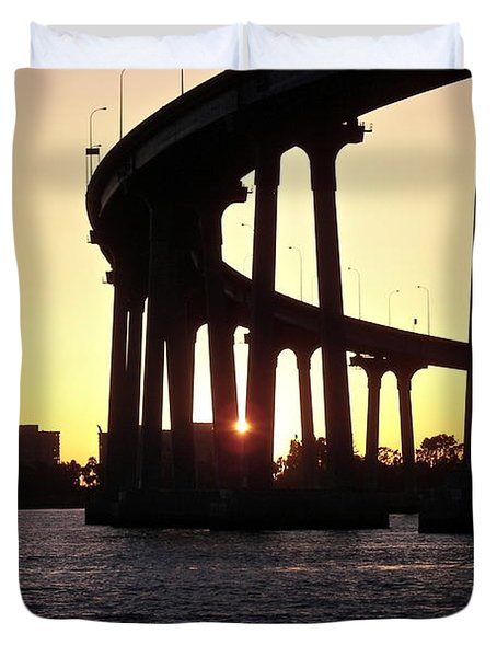 Coronado Bridge Sunset Duvet Cover