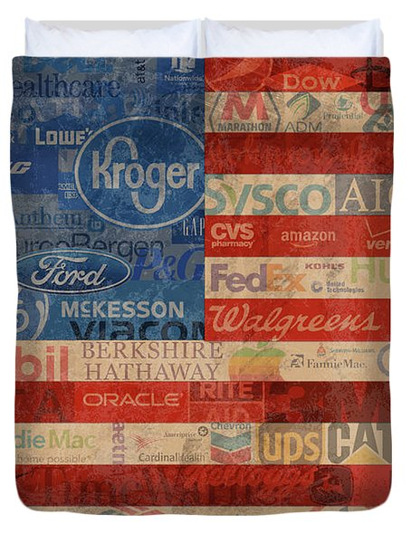 Corporate America Fortune 500 Companies Usa Flag Duvet Cover