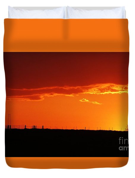 Duvet Cover featuring the photograph Corral Silhouette  by J L Zarek