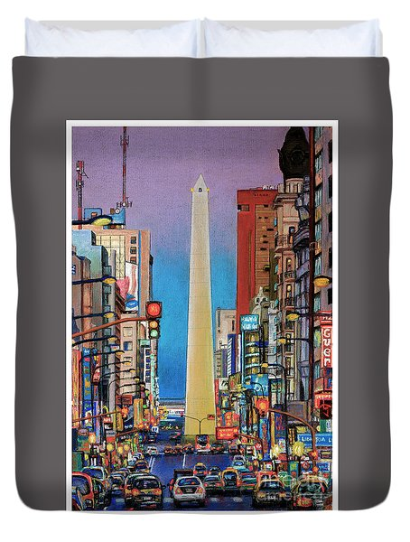 Corrientes Avenue Duvet Cover by Bernardo Galmarini