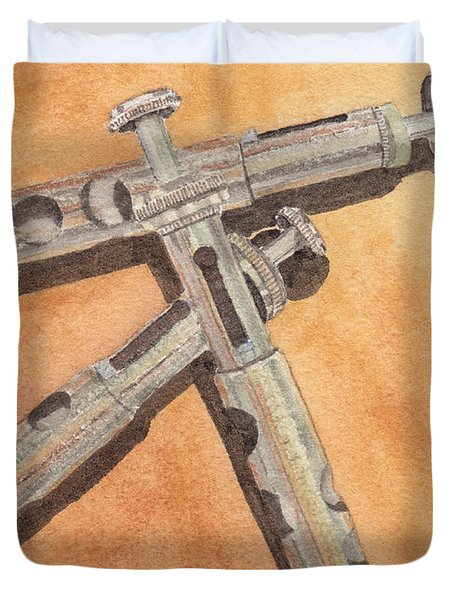 Corroded Trumpet Pistons Duvet Cover by Ken Powers