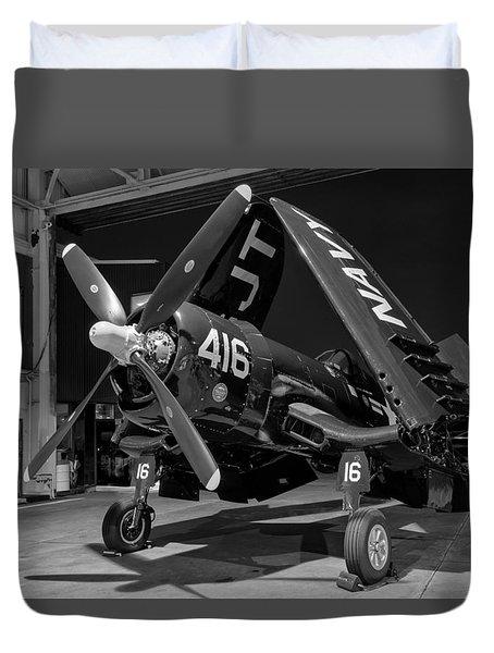 Corsair In The Hangar Duvet Cover