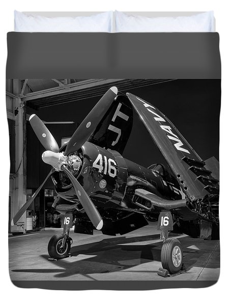 Corsair In The Hangar Duvet Cover