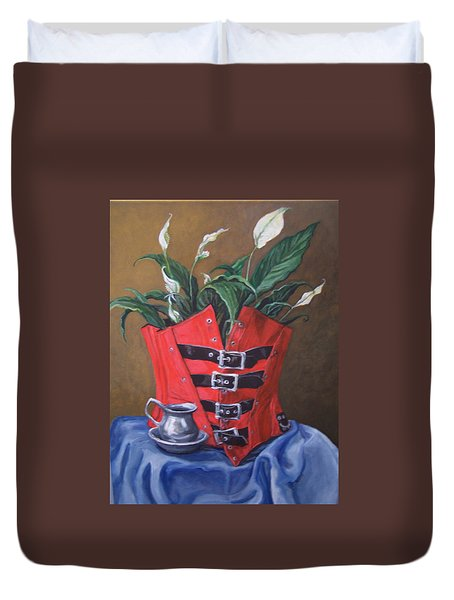 Corset And Calla Lily Duvet Cover