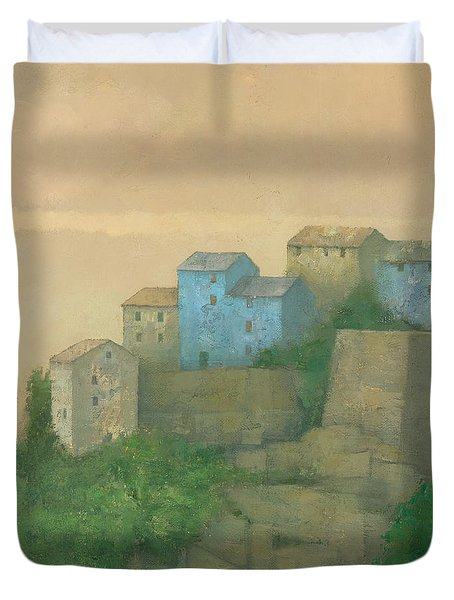 Corsican Hill Top Village Duvet Cover by Steve Mitchell