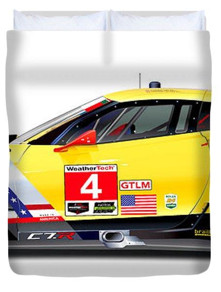 Corvette C7.r Lm Illustration Duvet Cover