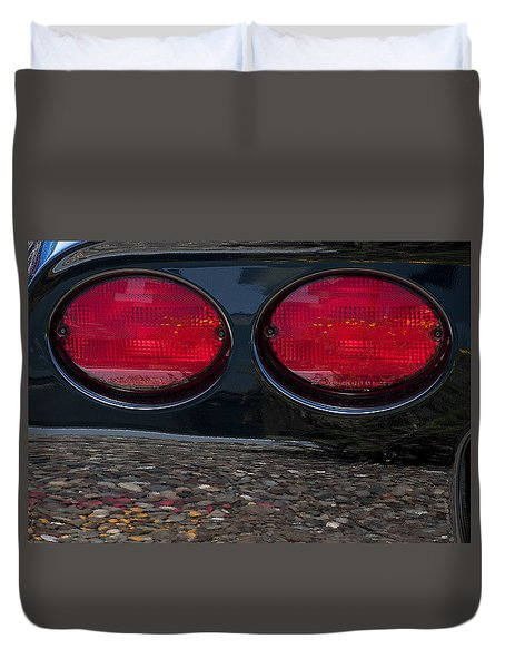Corvette On The Rocks Duvet Cover