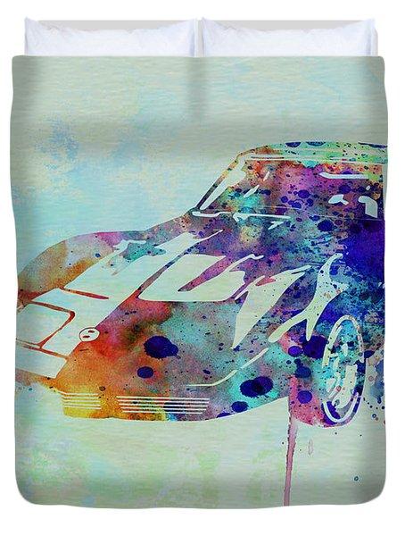 Corvette Watercolor Duvet Cover