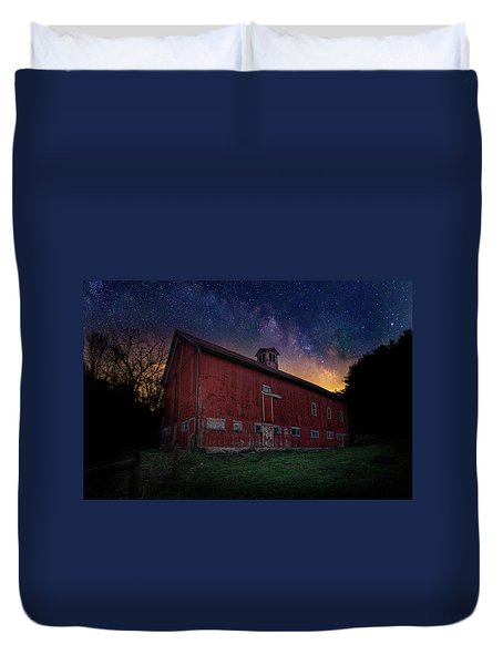 Duvet Cover featuring the photograph Cosmic Barn by Bill Wakeley