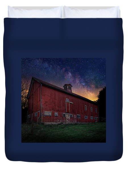 Duvet Cover featuring the photograph Cosmic Barn Square by Bill Wakeley