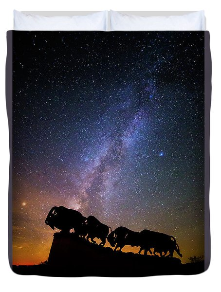 Duvet Cover featuring the photograph Cosmic Caprock Bison by Stephen Stookey