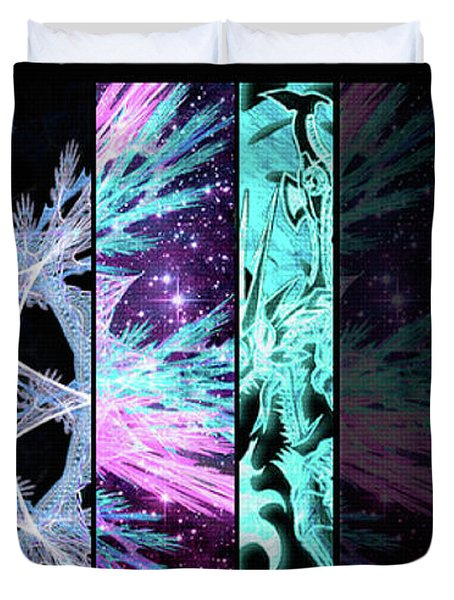Duvet Cover featuring the mixed media Cosmic Collage Mosaic Left Side Flipped by Shawn Dall