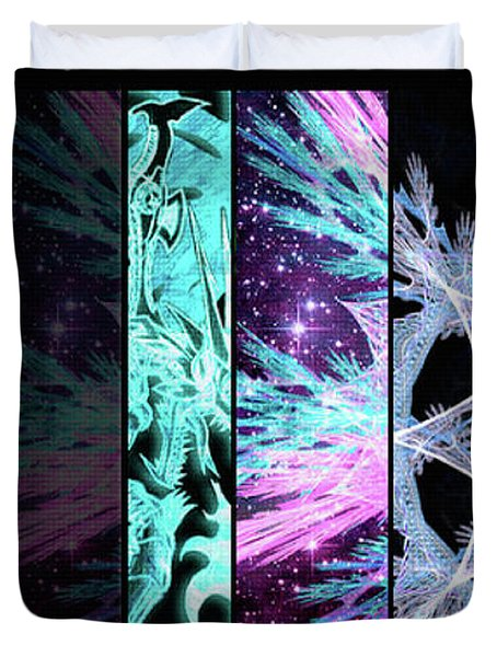 Duvet Cover featuring the mixed media Cosmic Collage Mosaic Left Side by Shawn Dall