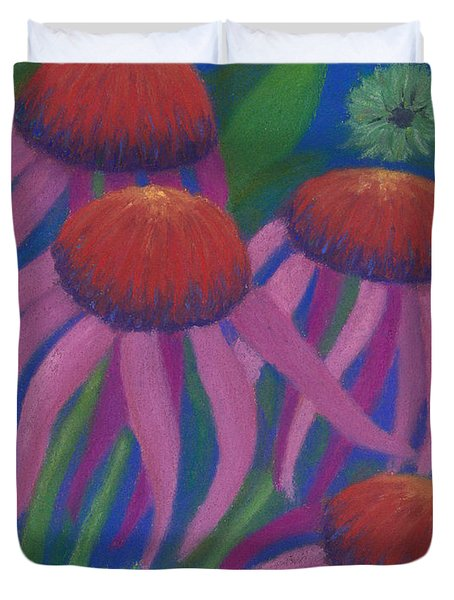 Cosmic Coneflowers Duvet Cover