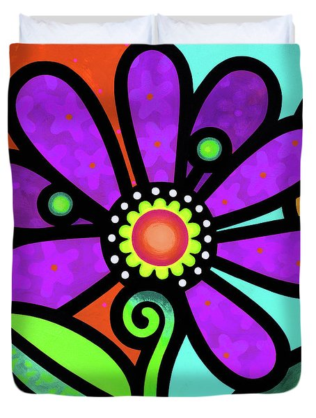 Cosmic Daisy In Purple Duvet Cover
