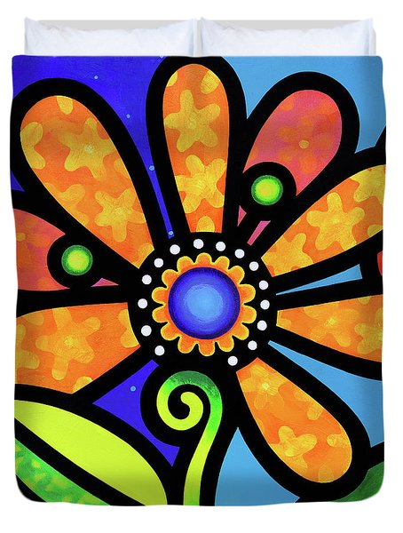 Cosmic Daisy In Yellow Duvet Cover