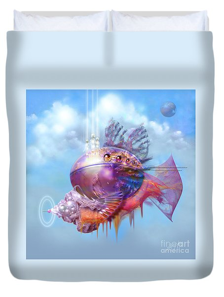 Cosmic Fish Spaceship Duvet Cover