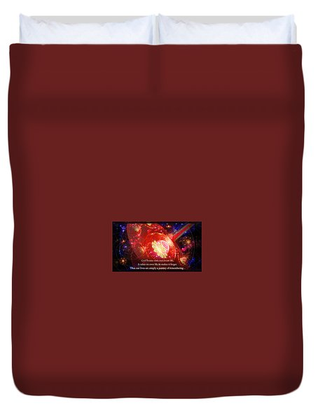 Duvet Cover featuring the mixed media Cosmic Inspiration God Source 2 by Shawn Dall
