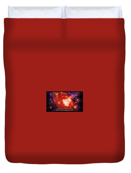 Duvet Cover featuring the mixed media Cosmic Inspiration God Source by Shawn Dall