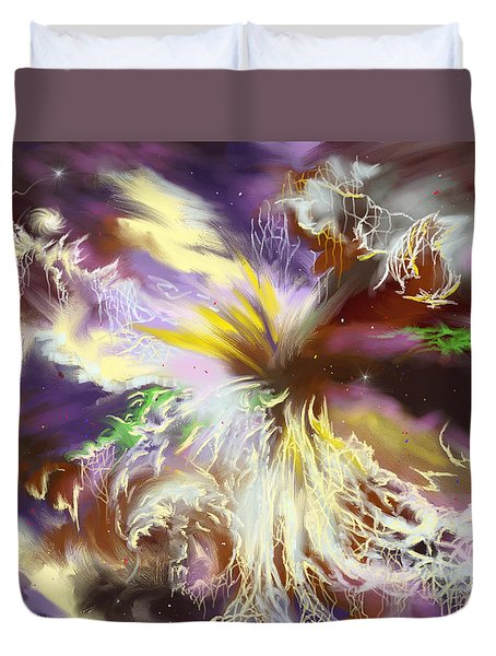 Duvet Cover featuring the digital art The Flowering Of The Cosmos by Amyla Silverflame