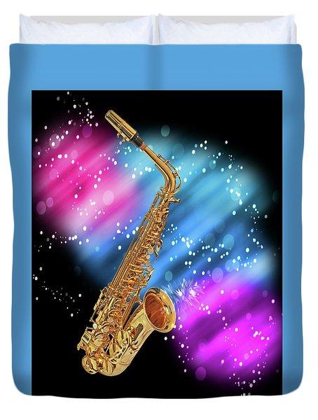 Cosmic Sax Duvet Cover