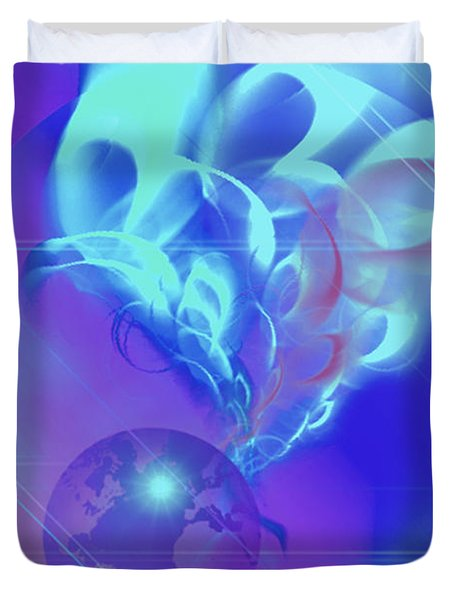 Duvet Cover featuring the digital art Cosmic Wave by Ute Posegga-Rudel