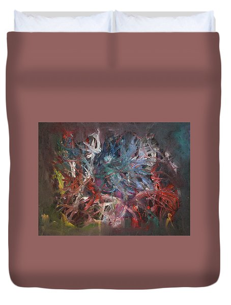 Duvet Cover featuring the painting Cosmic Web by Michael Lucarelli