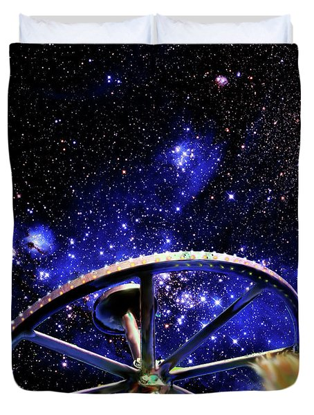 Duvet Cover featuring the photograph Cosmic Wheel by Jim and Emily Bush