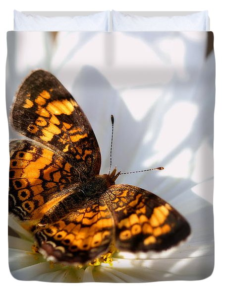 Pearl Crescent Butterfly On White Cosmo Flower Duvet Cover