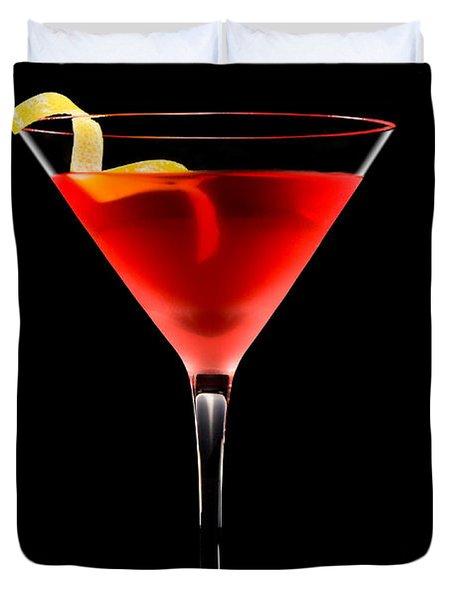 Cosmopolitan Cocktail In Front Of A Black Background  Duvet Cover