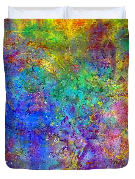 Duvet Cover featuring the painting Cosmos by Claire Bull