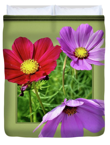 Cosmos Flower Peeking Out Duvet Cover